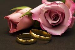 Anéis e rosas de casamento. Imagens de Stock