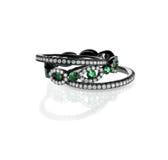 Anéis esmeraldas de pedra preciosa do diamante da pilha fotos de stock royalty free