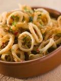 Anéis fritados Frito- do calamar de Calameres Fotografia de Stock