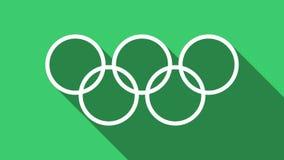Anéis olímpicos - ícone liso da olimpíada Formato do png com canal ALFA da transparência ilustração do vetor