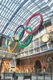 Anéis olímpicos em Londres Fotos de Stock