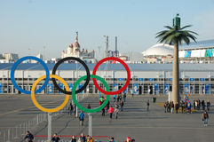 Anéis olímpicos perto da entrada ao parque em Sochi 2014 XXII invernos Ol Foto de Stock Royalty Free