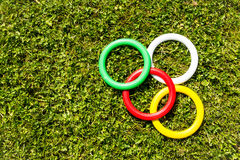 Anéis plásticos na grama Foto de Stock Royalty Free