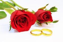 Anéis vermelhos de Rosa e de casamento fotografia de stock royalty free