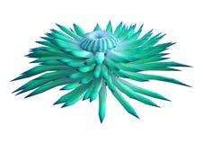 anémona de mar de la representación 3D en negro foto de archivo