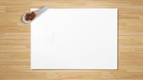 An?s de estrella en las cucharas de madera aisladas en el Libro Blanco imagen de archivo libre de regalías