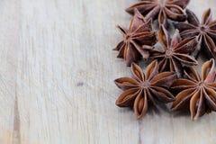 Anís de estrella en una tajadera, espacio para el texto Foto de archivo