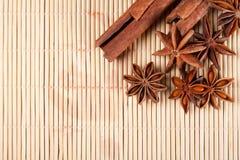 Anís de estrella y palillos de canela secados Imagen de archivo libre de regalías