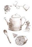 Anís determinado del limón, del té, del azúcar, del caramelo y de estrella del bosquejo ejemplo dibujado mano del juego de té bos stock de ilustración