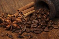 Anís y canela del café Foto de archivo libre de regalías