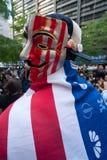 Anónimo ocupe al manifestante de Wall Street Imágenes de archivo libres de regalías