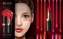 Anúncio cosmético do batom Fotografia de Stock