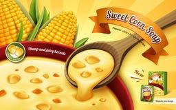 Anúncio da sopa do milho doce Fotos de Stock Royalty Free