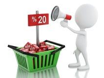 anúncio da venda do homem 3d com megafone e cesto de compras Foto de Stock Royalty Free
