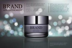 Anúncio de creme antienvelhecimento da beleza Projeto de pacote dos cosméticos ilustração da beleza do vetor 3d Máscara de creme  Imagens de Stock