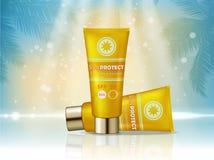 Anúncio de produtos cosmético de Sunblock Ilustração do vetor 3d Sunblock desnata o molde da garrafa, produtos do cosmético da pr ilustração stock