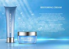Anúncio de produtos cosmético Ilustração do vetor 3d Projeto do molde da garrafa dos cuidados com a pele A cara e o corpo compõem ilustração stock