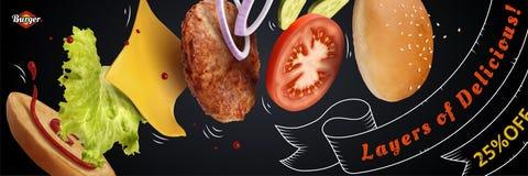 Anúncio delicioso do Hamburger ilustração stock