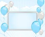 Anúncio do balão do azul de bebê Fotos de Stock Royalty Free