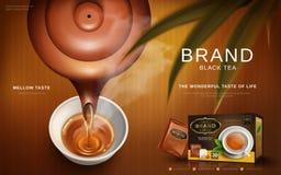 Anúncio do chá preto ilustração stock