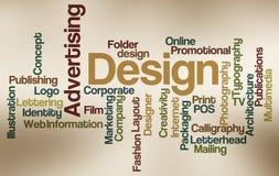 Anúncio e projeto - nuvem da palavra Fotos de Stock
