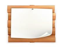 Anúncio na placa de madeira Fotografia de Stock