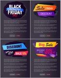 Anúncio 2017 novo da oferta dos discontos grandes de Black Friday da venda Fotografia de Stock