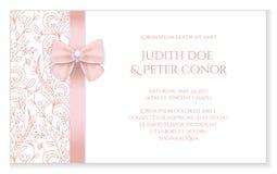 Anúncio romântico do casamento com o Orn floral cor-de-rosa Imagens de Stock Royalty Free