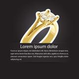 Anúncio simples do casamento com anel da união Imagem de Stock