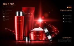Anúncios ajustados do cosmético atrativo ilustração stock