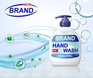 Anúncios anti-bacterianos da lavagem do gel da mão, garrafa do distribuidor com as bolhas transparentes isoladas no fundo 3D real ilustração do vetor