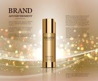 Anúncios cosméticos molde, modelo da garrafa da gota isolado no fundo do brilho Elementos dourados da folha e das bolhas 3d Foto de Stock Royalty Free