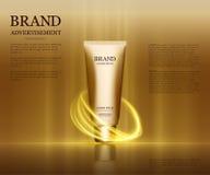 Anúncios cosméticos molde, modelo da garrafa da gota isolado no fundo do brilho Elementos dourados da folha e das bolhas 3d Imagens de Stock Royalty Free