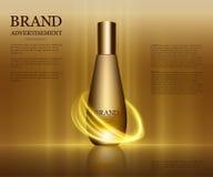Anúncios cosméticos molde, modelo da garrafa da gota isolado no fundo do brilho Elementos dourados da folha e das bolhas 3d Imagens de Stock