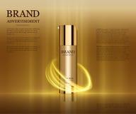 Anúncios cosméticos molde, modelo da garrafa da gota isolado no fundo do brilho Elementos dourados da folha e das bolhas 3d Fotos de Stock Royalty Free