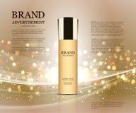 Anúncios cosméticos molde, modelo da garrafa da gota no fundo do brilho Elementos dourados da folha e das bolhas 3d Imagem de Stock