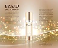 Anúncios cosméticos molde, modelo da garrafa da gota no fundo do brilho Elementos dourados da folha e das bolhas 3d Fotos de Stock