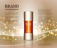 Anúncios cosméticos molde, modelo da garrafa da gota no fundo do brilho Elementos dourados da folha e das bolhas 3d Foto de Stock Royalty Free