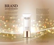 Anúncios cosméticos molde, modelo da garrafa da gota no fundo do brilho Elementos dourados da folha e das bolhas 3d Imagens de Stock Royalty Free