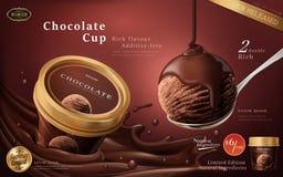 Anúncios do copo do gelado de chocolate ilustração stock