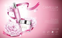 Anúncios do cosmético da camélia ilustração royalty free