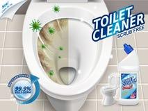 Anúncios do líquido de limpeza do toalete ilustração stock