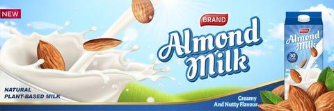 Anúncios do leite da amêndoa com líquido ilustração do vetor