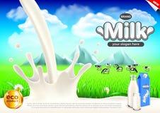 Anúncios do leite Leitoso espirra e fundo do vetor do campo do verde ilustração do vetor