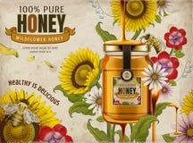 Anúncios do mel do Wildflower ilustração royalty free