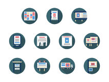 Anúncios e ícones lisos redondos dos ícones da promoção ilustração stock