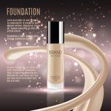 Anúncios glamoroso da fundação, garrafa de vidro com fundação e efeitos da efervescência, anúncios elegantes para o projeto, ilus Fotos de Stock