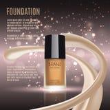 Anúncios glamoroso da fundação, garrafa de vidro com fundação e efeitos da efervescência, anúncios elegantes para o projeto, ilus Imagem de Stock