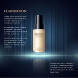 Anúncios glamoroso da fundação, garrafa de vidro com fundação e efeitos da efervescência, anúncios elegantes para o projeto, ilus Foto de Stock