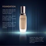 Anúncios glamoroso da fundação, garrafa de vidro com fundação e efeitos da efervescência, anúncios elegantes para o projeto, ilus Fotos de Stock Royalty Free